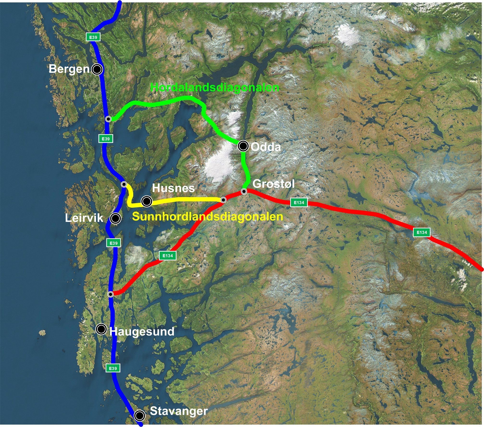 topografisk kart bergen Sunnhordlandsdiagonalen – Raskaste vegen mellom aust og vest topografisk kart bergen